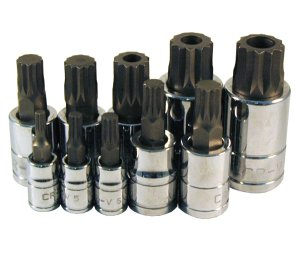 10 Pc. Triple Square Spline Bit Socket Set