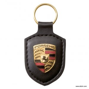 Genuine Porsche Crest Keyring, Leather, Black