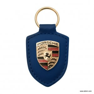 Genuine Porsche Crest Keyring, Leather, Blue