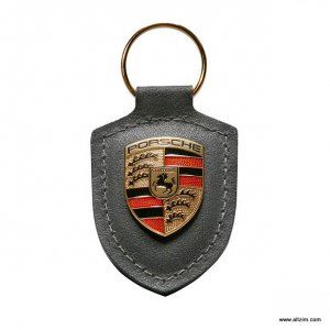 Genuine Porsche Crest Keyring, Leather, Grey