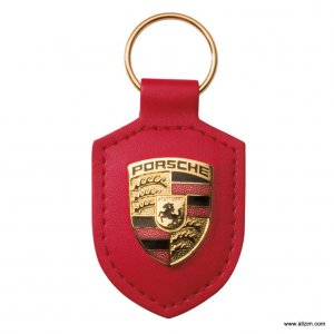Genuine Porsche Crest Keyring, Leather, Guards Red